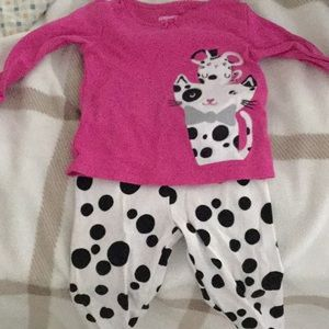 Gymboree hot pink and polka dotted pj's